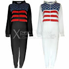 WOMENS LADIES USA STARS STRIPES PRINT ALL IN ONE PIECE JUMPSUIT HOODED ONESIE