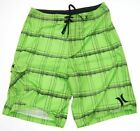 Hurley Green Plaid Skate Swim Trunk Boardshort Men Short Beach size 32 36