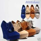 Spring Round Toe Lace Zipper Platform Wedge Boot Sandal Shoes Size 5 - 10  NEW