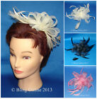 LOOPED NET & FEATHER FASCINATOR ON CLEAR HAIR SLIDE COMB BLACK CREAM PINK ASCOT