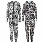 WOMENS LADIES MENS ANIMAL PRINT ONESIE ALL IN ONE PIECE JUMPSUIT HOODED ONESIES