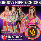 60s - 70s Adult Ladies Hippie Flares &Top Fancy Dress Set UK 6-28 Hippy Costume