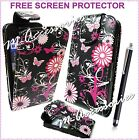 FLORAL PINK BLACK FLIP PU LEATHER CASE COVER POUCH FOR NEW MOBILE PHONES