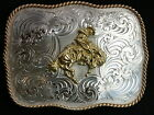 SADDLE BRONC Rectangle Belt Buckle G868 - 722 Montana Silversmith German Silver