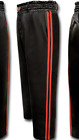 Kickboxing Trousers Training Pants Black with 2 Red stripes satin pants Adults