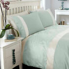 Ivory Duck Egg Cream Jacquard Leaf Design Luxury Quilt Duvet Bedding Set