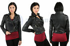 NEW LADIES ZIP PVC FAUX LEATHER CROPPED BOMBER BIKER JACKET WOMENS COAT 8-14