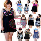 UK 16-22 Plus Size Floral Padded One Piece Swimdress Swimsuit Bathing Suit UW433
