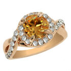 4.10 Carat Round Brilliant Rose Gold and White CZ Halo Yellow Gold Plated Ring