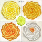 "Large 3"" Handmade Craft ROSE Berisford Bridal Satin Dress Corsage YELLOW ORANGE"