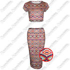 NEW WOMENS AZTEC COLOUR PRINT SUIT MINI SKIRT CROP TOP STRETCH FIT BODYCON LOOK