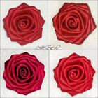 "Large Handmade ROSE DIY Craft Satin Bridal TRIM Dress Shoe Applique 3"" or 2"""