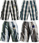 NEW MENS CARGO SHORTS SOUL STAR TWILL COMBAT BERMUDA DISTRESSED CHECK SoulStar