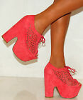 LADIES CORAL PINK CHUNKY LASER CUT LACE UPS WEDGES PLATFORMS SHOES HIGH HEELS