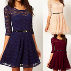 Women Sexy Spoon Neck 3/4 Sleeve Lace Sakter Dress Mini Dress 5 Size Party