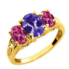 2.55 Ct Oval Blue Tanzanite and Tourmaline Gold Plated Silver Ring