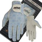 Ladies Golf Gloves Soft Fit Cabretta Leather Lycra Back Sky Blue Glove Left Hand