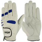 Golf Gloves Soft Cabretta Leather White Regular Size Men's Blue Lycra Left Hand