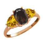 2.02 Ct Oval Brown Smoky Quartz and Citrine Gold Plated Silver Ring