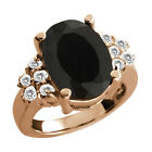 4.69 Ct Oval Black Onyx White Topaz Rose Gold Plated Sterling Silver Ring