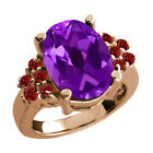5.00 Ct Oval Purple Amethyst Red Garnet Rose Gold Plated Sterling Silver Ring
