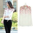 New Girl Women Lapel Collar Button Flowers Chiffon Long Sleeve Shirt Tops Blouse