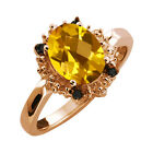 1.62 Ct Checkerboard Yellow Citrine and Diamond Rose Gold Plated Silver Ring