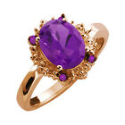 1.52 Ct Oval Purple Amethyst Gemstone Rose Gold Plated Sterling Silver Ring