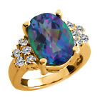 4.48 Ct Millenium Blue Mystic Quartz White Diamond Gold Plated Silver Ring