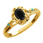 0.40 Ct Oval Black Onyx Swiss Blue Topaz Yellow Gold Plated Sterling Silver Ring