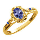 0.47 Ct Oval Blue Tanzanite Blue Sapphire Yellow Gold Plated Silver Ring
