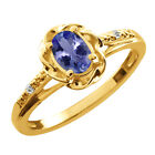 0.46 Ct Oval Blue Tanzanite White Topaz Yellow Gold Plated Sterling Silver Ring