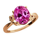3.27 Ct Oval Pink Created Sapphire Garnet Rose Gold Plated 925 Silver Ring