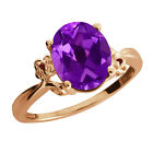 2.52 Ct Oval Amethyst Garnet Rose Gold Plated 925 Silver Ring