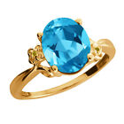 2.87 Ct Oval Swiss Blue Topaz Citrine Yellow Gold Plated Sterling Silver Ring