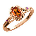 0.41 Ct Oval Orange Red Madeira Citrine Purple Amethyst Gold Plated Silver Ring