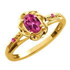 0.52 Ct Oval Pink Tourmaline Pink Sapphire Gold Plated Sterling Silver Ring