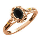 0.41 Ct Oval Black Onyx Yellow Citrine Rose Gold Plated Sterling Silver Ring