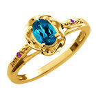 0.56 Ct Oval London Blue Topaz Purple Amethyst Gold Plated Sterling Silver Ring