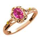 0.57 Ct Oval Pink Mystic Topaz Sapphire Gold Plated Sterling Silver Ring