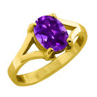 1.20 CT 8x6mm Oval Cut Amethyst Yellow Gold Ring New