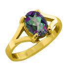 0.80 CT Oval Cut Mystic Exotic Topaz Yellow Gold Ring