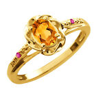 0.42 Ct Oval Yellow Citrine Pink Sapphire Yellow Gold Plated Silver Ring