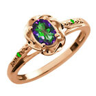 0.56 Ct Oval Green Mystic Topaz Green Tsavorite Gold Plated Sterling Silver Ring