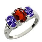 2.65 Ct Oval Blue Tanzanite and Red Garnet Sterling Silver Ring