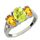 2.15 Ct Oval Yellow Lemon Quartz and Yellow Citrine Sterling Silver Ring
