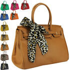 Womens Ladies Designer Leather Style Tote Satchel Top Handle Scarf Bag Handbag