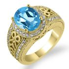 3.33 Ct Oval Swiss Blue Topaz Sapphire Gold Plated Sterling Silver Ring