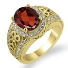 3.33 Ct Oval Red Garnet White Sapphire Yellow Gold Plated Sterling Silver Ring