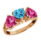 2.80 Ct Heart Shape Swiss Blue Topaz and Mystic Topaz Gold Plated Silver Ring